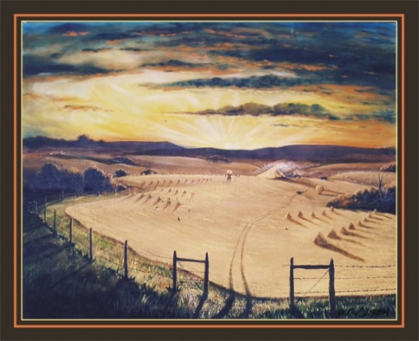 THRESHING OIL PAINTING